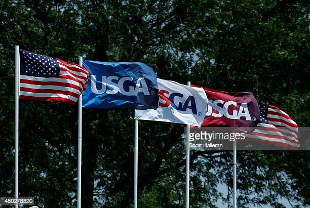 USGA flags are seen near the ninth green during the second round of the US Women's Open at Lancaster Country Club on July 10 2015 in Lancaster...