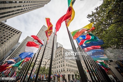 Flags at Rockefeller Plaza, New York City, United States : Foto de stock