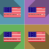 Flags of Bikini Atoll. Set of colors flat design and long shadows.  illustration