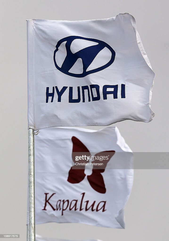 Flags blow in the wind during the Pro-Am round of the Hyundai Tournament of Champions at the Plantation Course on January 3, 2013 in Kapalua, Hawaii.
