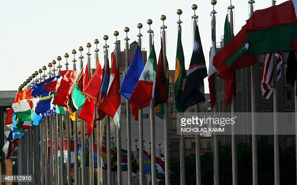 Flags flutter in the wind outside United Nations headquarters in New York 24 September 2007 on the eve of the UN General Assembly