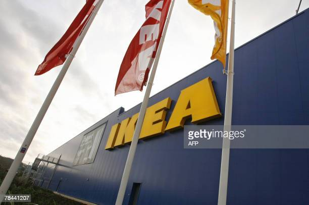 Flags fly at a new Ikea store in Belfast in Northern Ireland 13 December 2007 Home funishings retailer IKEA celebrated Thursday the opening of its...