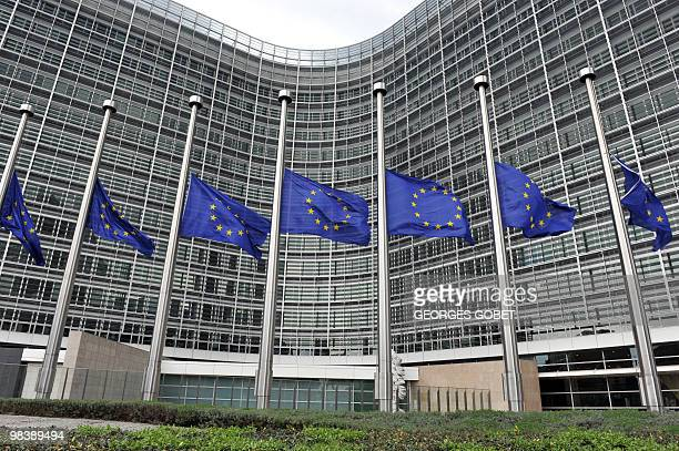 EU Flags fly at half mast in front of the Berlaymont European Commision Bulding in Brussels on April 11 2010 following the death of Polish President...