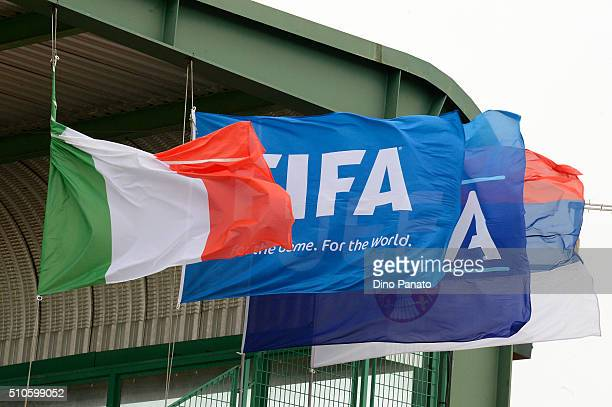 Flags fly during the international friendly match between Italy U17 and Serbia U17 at Stadio Comunale on February 16 2016 in Manzano Italy