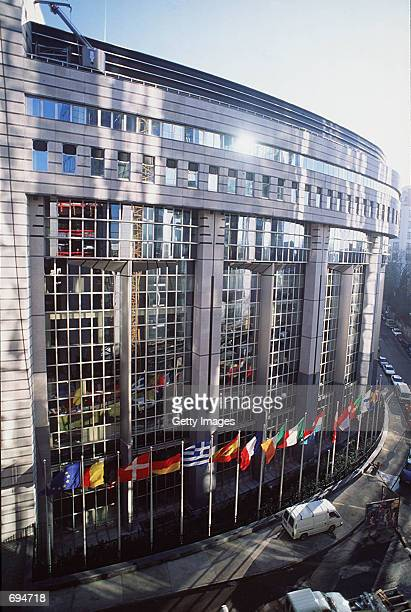 Flags fly in front of the European Parliament January 16 1995 in Brussels