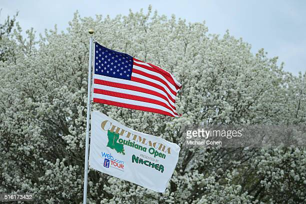 Flags fly near the golf course during the first round of the Chitimacha Louisiana Open presented by NACHER held at Le Triomphe Golf and Country Club...