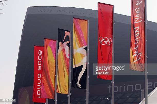 Flags fly outside the skating venue Palavela prior to the Turin 2006 Winter Olympic Games on February 9 2006 in Turin Italy The opening ceremony will...