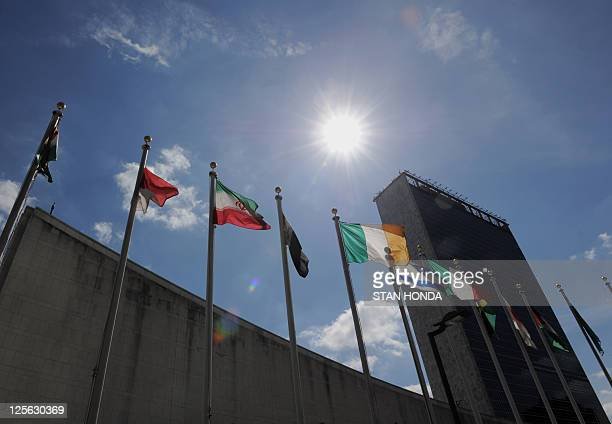 Flags fly outside United Nations headquarters September 19 2011 in New York in advance of the annual General Assembly AFP PHOTO/Stan HONDA