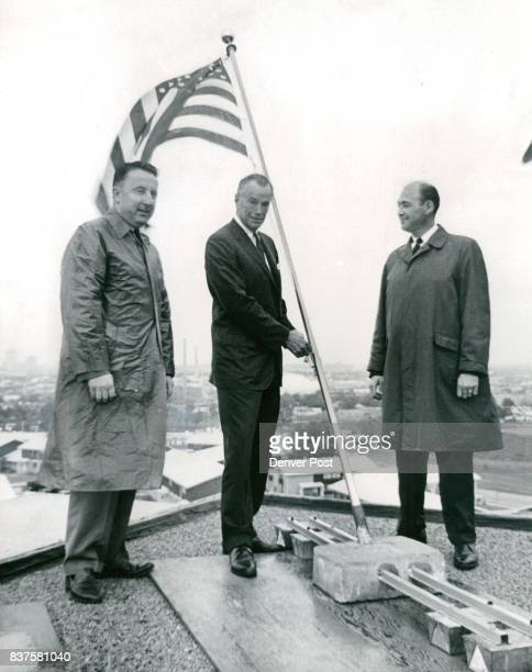 Flags Fly Over Avondale Village United States Colorado and Denver flags were raised atop the first highrise apartment building completed in Avondale...