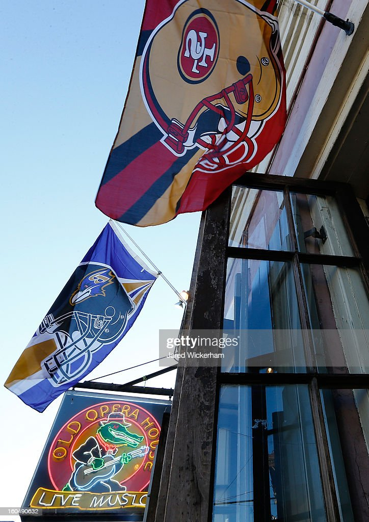 Flags for the Baltimore Ravens and the San Francisco 49ers are displayed prior to Super Bowl XLVII on February 1, 2013 in New Orleans, Louisiana.