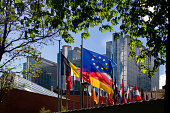 'Flags in front of European Parliament, Brussels'