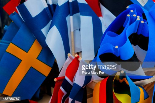 Flags of countries along the baltic sea : Stock Photo