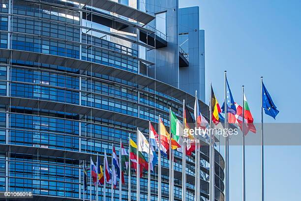 Flags of countries in Europe in front of the European Parliament / EP at Strasbourg France