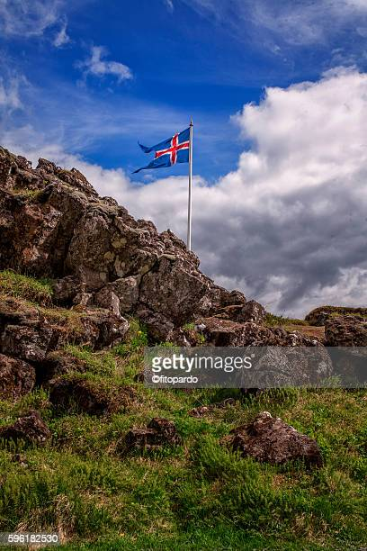 flags of iceland in Þingvellir National Park