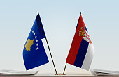 Two table flags of Kosovo and