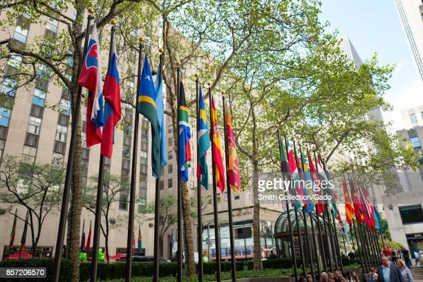 Flags of many countries in a line at Rockefeller Center in Manhattan New York City New York September 15 2017