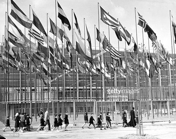 Flags of many nations outside the international labor exhibition 'Italia 61' centennial celebrations in Turin Italy 1961