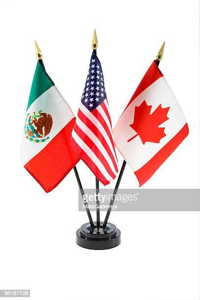 Bandeiras do México, Estados Unidos e Canadá
