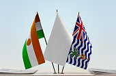 Flags of Niger and BIOT with a white flag in the middle