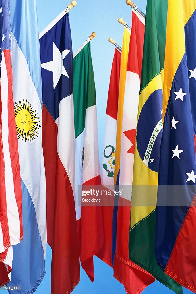 Flags of North and South America : Stock Photo