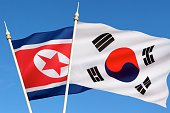 The flag of North Korea was adopted on 8 September 1948, as the national flag and ensign of this isolationist Stalinist state. The flag of South Korea, or Taegeukgi has three parts - a white backgroun