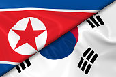 Flags of North Korea and South Korea Divided Diagonally - 3D Render of the North Korean Flag and South Korean Flag with Silky Texture