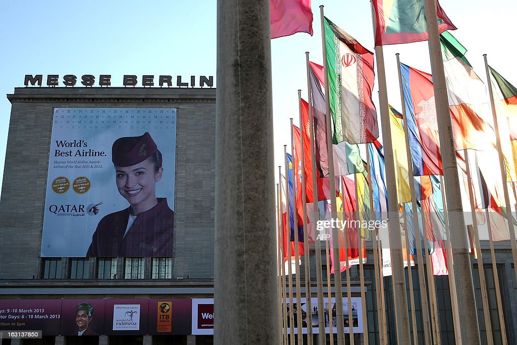 Flags of participating countries fly outside the ITB Berlin tourism convention (Internationale Tourismus-Boerse) prior to its opening in Berlin on March 5, 2013. The ITB Berlin runs from March 6-10 and features Indonesia as its partner country for the event in 2013.