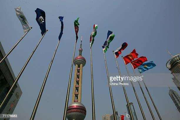 Flags of Shanghai Cooperation Organization member states fly in front of the Shanghai International Convention Center where the SCO summit will be...