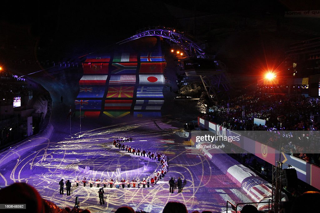 Flags of the competing nations are projected on the race hill during the opening ceremony for the Alpine FIS Ski World Championships on February 04, 2013 in Schladming, Austria,