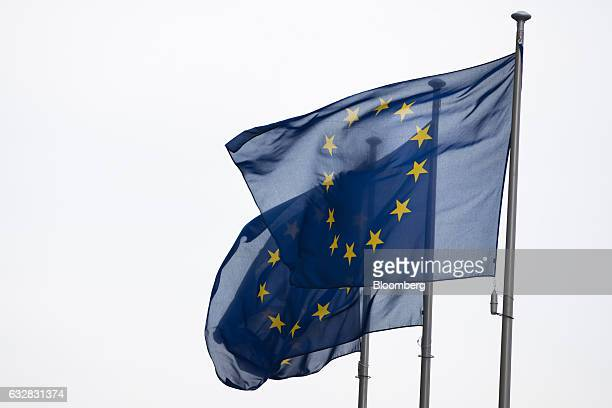 Flags of the European Union fly in Brussels Belgium on Friday Jan 27 2017 The Scottish National Party proposed four amendments to UK Prime Minister...