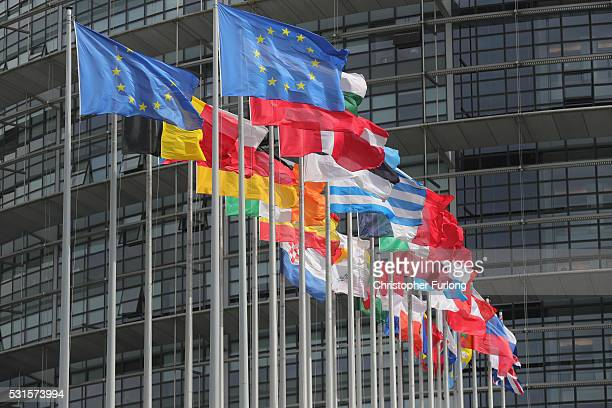 Flags of the European Union fly outside the European Parliament on May 11 2016 in Strasbourg France The United Kingdom will hold a referendum on June...