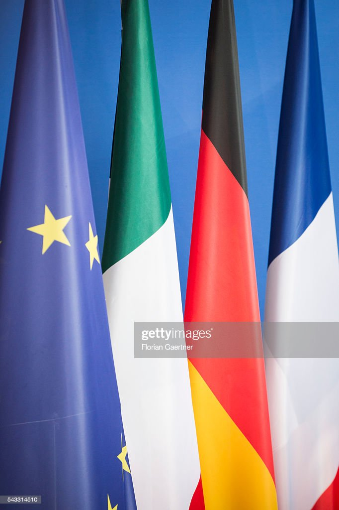 Flags of the European Union, Italy, Germany and France are seen on June 27, 2016 in Berlin, Germany. Renzi and Hollande visit Merkel to discuss the Brexit-decision of Great Britain.