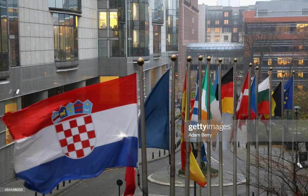 Flags of the European Union member states fly outside the European Parliament building on December 4, 2013 in Brussels, Belgium. The legislative body also has representation in Strasbourg and Brussels.