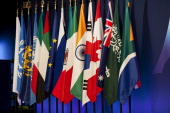 Flags of the member states at the G20 Summit in Cannes France 3rd January 2011