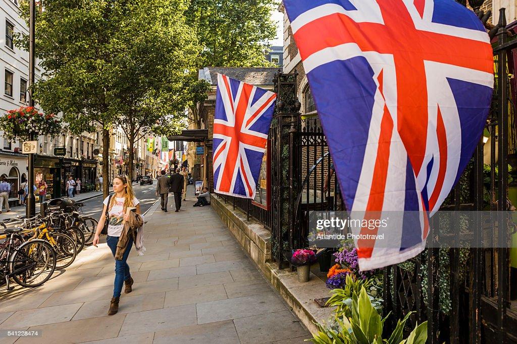 Flags of the United Kingdom near St James's church