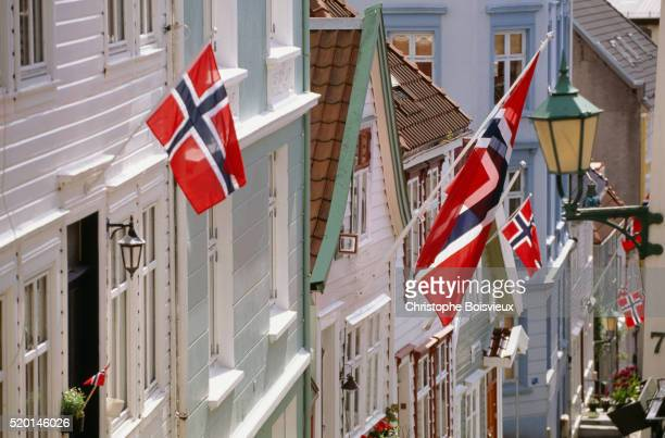 Flags on houses in Bergen during Norwegian Constitution Day