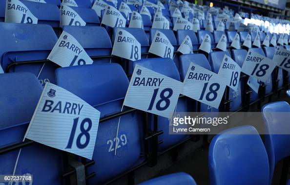 Flags out to mark Gareth Barry of Everton's 600th league appearance before the Premier League match between Everton and Middlesbrough at Goodison...