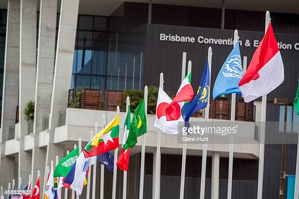Flags outside the Brisbane Convention Exhibition Centre ahead of the G20 Leaders Summit on November 12 2014 in Brisbane Australia World economic...