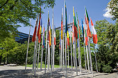 flags, European patent office, Munich, Bavaria, Germany