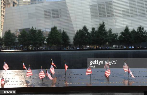 Flags stand in names at the at the 9/11 Memorial during ceremonies for the twelfth anniversary of the terrorist attacks on lower Manhattan at the...