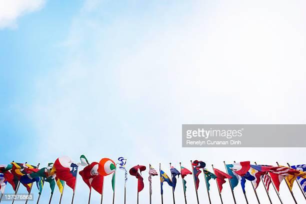 Flags under sky