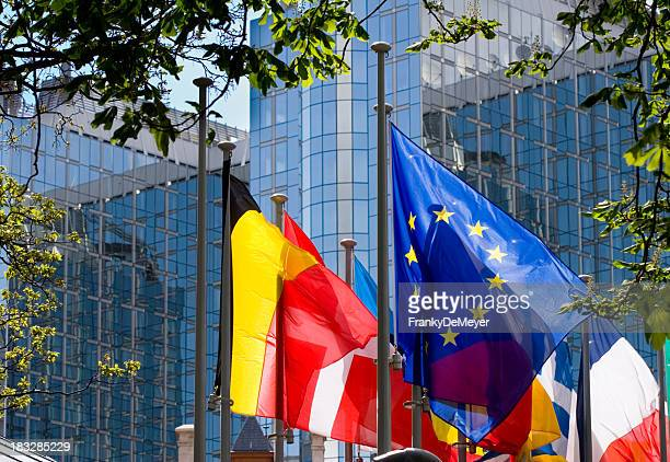 Flags with European Parliament in Brussels