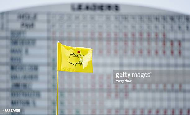 A flagstick is seen on the 18th green during the first round of the 2014 Masters Tournament at Augusta National Golf Club on April 10 2014 in Augusta...