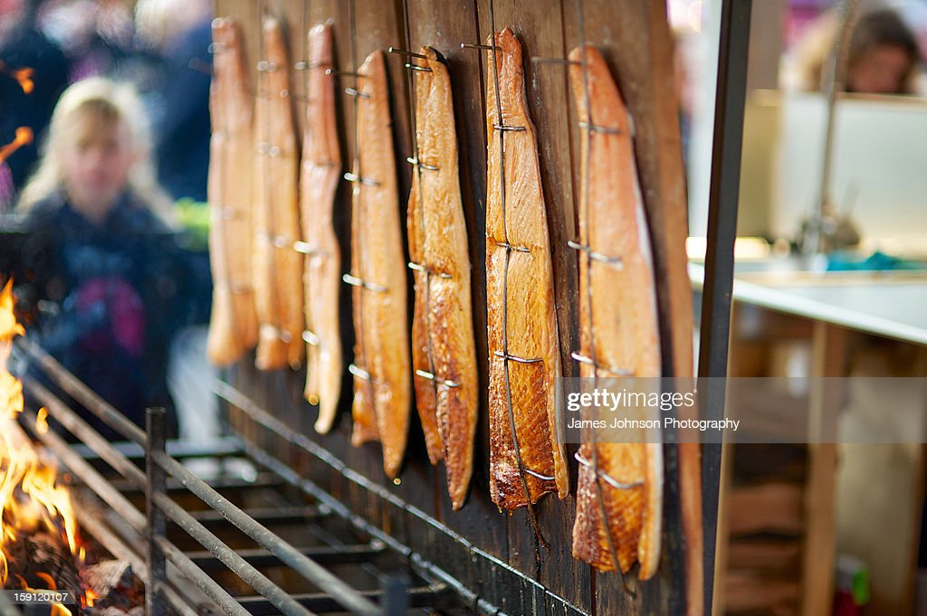 Flame grilled salmon : Stock Photo