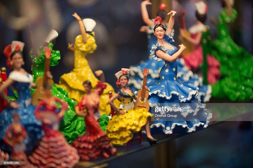 Flamenco Dancer figurines in a shop window.