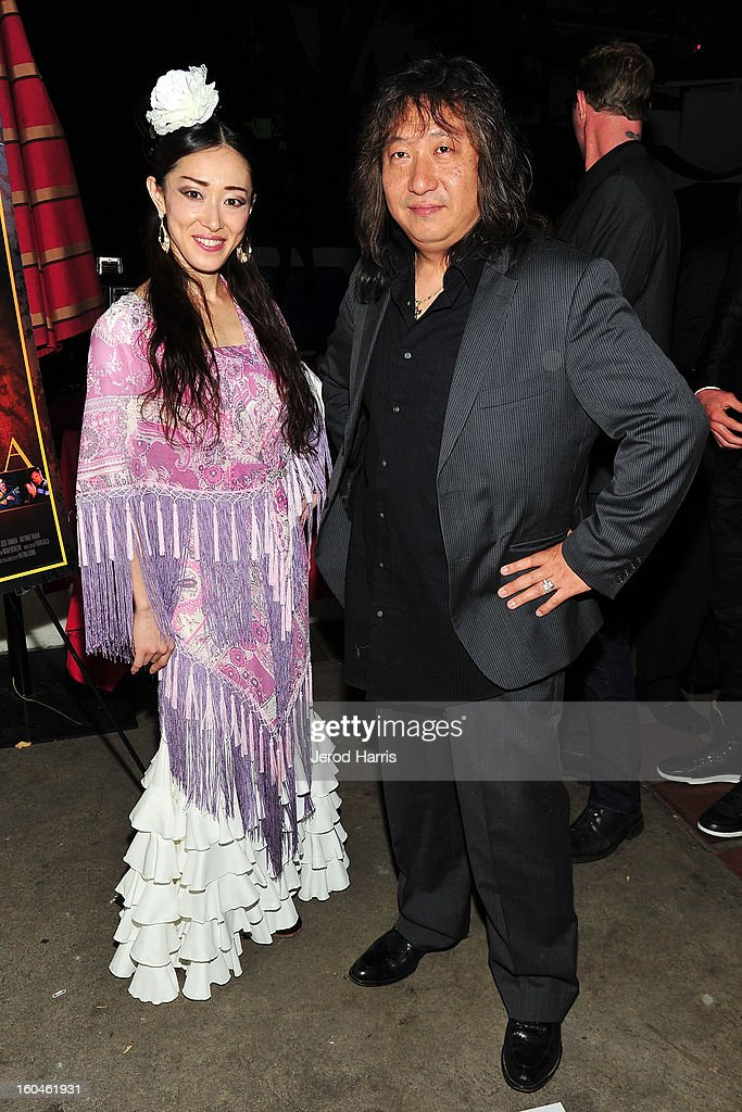 Flamenco dancer Mizuho Sato and guitarist Jose Tanaka arrive at the premiere of 'Kumpania: Flemenco Los Angeles' at El Cid on January 31, 2013 in Los Angeles, California.