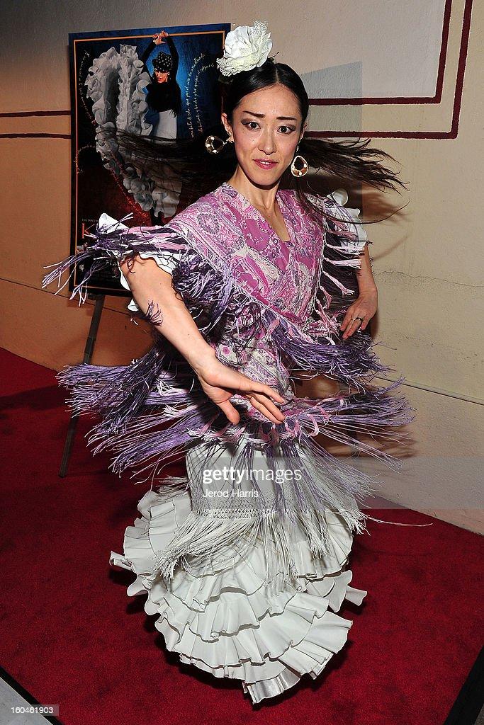 Flamenco dancer Mizuho Sato arrives at the premiere of 'Kumpania: Flemenco Los Angeles' at El Cid on January 31, 2013 in Los Angeles, California.
