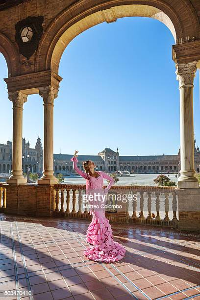 Flamenco dancer performing in Plaza de Espana, Seville, Andalusia, Spain