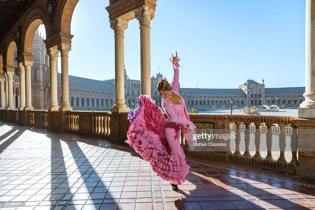 Flamenco dancer performing outdoors in Spain
