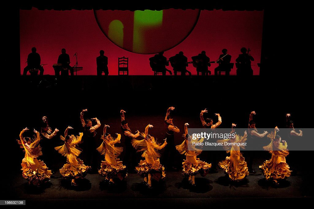 Flamenco dancers and musicians perform at the end of the opening ceremony of the the XXII Ibero-American Summit at Falla Theatre on November 16, 2012 in Cadiz, Spain. The 22nd Ibero-American Summit is Mariano Rajoy's first as President of Spain and will be attended by 16 Foreign Affairs ministers. The main issues of the meeting will be the economic crisis and how Latin American countries can contribute to the Eurozone recovery.